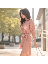Korean Style Tie-Wrap Turndown Collar Female Dress