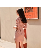 Korean Style Tie-Wrap Turndown Collar Solid Female Dress