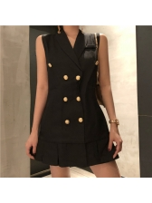 0447e06fce13d Wholesale Fashion Solid Double-Breasted Sleeveless Dress XYG080940 ...