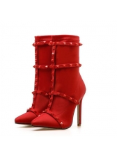 Hot Sale Pointed Rivets Ankle Boots