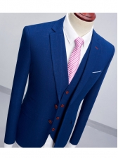 Single-breasted Blue Business 3 Pieces Men Suits