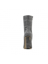 Euro Plaid Chunky Heel Pointed Mid Calf Boots