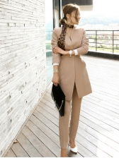 Autumn Solid Color V-neck OL Style Formal Suits