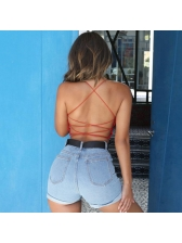 Sexy Cross Belt Backless Cropped Camisoles