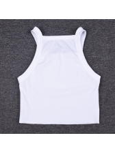 Off Shoulder Cropped White Sporty Tank