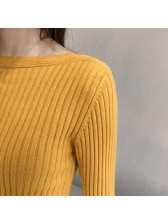 New Arrival Solid Long Sleeves Fitted Ladies Sweater