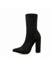 Fashion Pointed Black Chunky Heel Boots