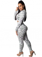 Sexy Cropped Printed Skinny 2 Piece Sets