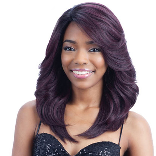 New Arrival Shaggy Colormix Medium Side Parting Natural Wave Synthetic Wigs