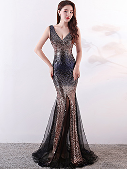 Sexy Boutique Sequined Deep V-neck Patchwork Evening Dresses