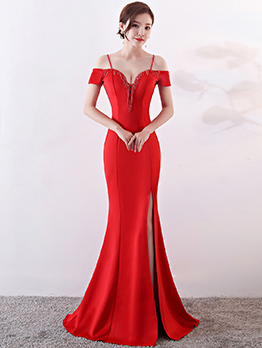 Chic Solid Fitted Off Shoulder Boutique Evening Dress