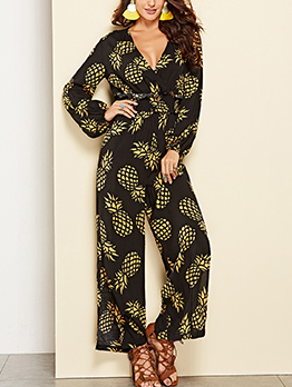 Fashion V Neck Pineapple Printing Jumpsuits