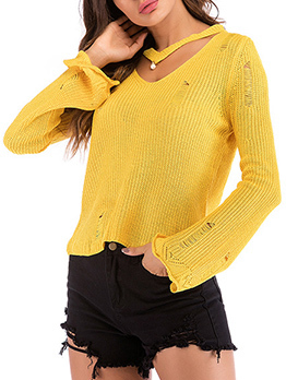 Chic Pearl Design Hollow Out Sweaters