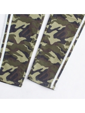 Casual High Waist Fitted Camouflage Trouser