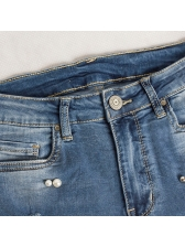 Fashion Peal Patchwork Worn Out Jeans