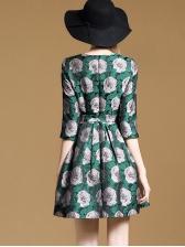 Elegant Flower Design Tie-wrap A-line Dresses