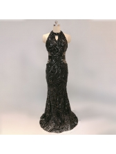 Temperament Boutique Sequined Hollow Out Fitted Evening Dresses