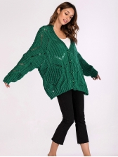 New Arrival Solid Loose V Neck Knit Cardigan