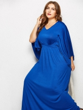 Plus Size V Neck Bat Sleeve Loose Solid Maxi Dress