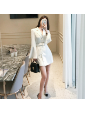 Korean Single-breasted Flare Sleeve Blazer Dress