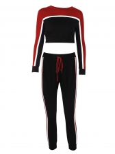 Euro Contrasting Color Cropped Top Tracksuits