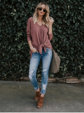 Casual V Neck Single-breasted Blouses