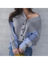 Stylish Striped Patchwork Single-breasted V Neck Blouses