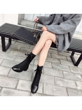 Euro Lace Up Square Toe Patchwork Women Boots