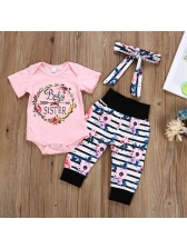 Fashion Flowers Printed Striped Girls 3 Pieces Sets