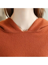 Autumn Solid Hooded Neck Loose Sweater