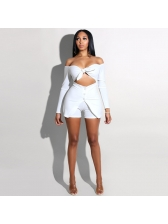 Boat Neck Long Sleeve Hollow Out Solid Rompers