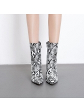 Euro Snake Print Pointed Mid Calf Boots