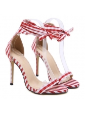Roma Style Plaid Lace Up Thin Heel Pumps