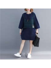 Plus Size Patchwork Striped Contrast Color Dresses