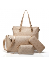 Four Piece Vintage Style Diamond Pattern Handbags
