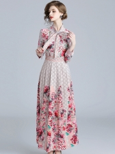 Easy Matching Printed Long Sleeves Fitted Dress
