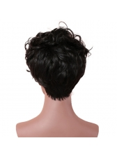 Fluffy Short Natural Wave Black High Temperature Fiber Synthetic Wigs