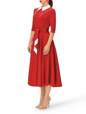 Graceful Turndown Collar Contrast Color Dresses