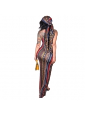 Bohemian Multicolored Striped Printing Halter Dress