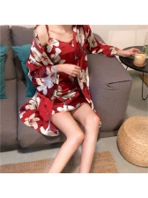 Sexy Floral Two Pieces Sleepwear With Belt