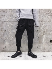 Hot Sale Solid Fitted Poackets Harem Pants
