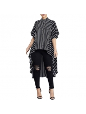 Autumn Striped Spread Neck Ruffles Loose Blouse