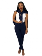 Euro Studded Solid Casual Two Piece Outfits