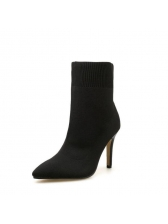 Matching Pointed Black Heel Boots For Women