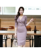 Korean OL Style V Neck Fitted Solid Pencil Dress