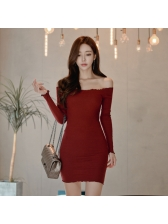 Sexy Boat Neck Long Sleeve Solid Knitted Dress