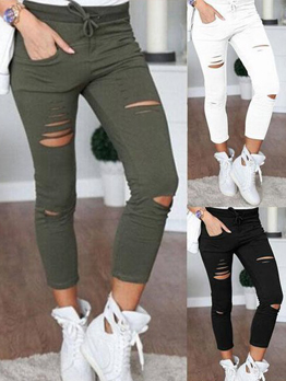 Fashion Ripped Skinny Harem Cotton Pants Design