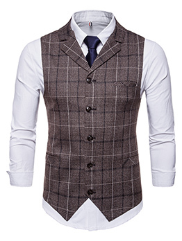 Hot Sale Plaid Fitted Single-breasted Men Vest