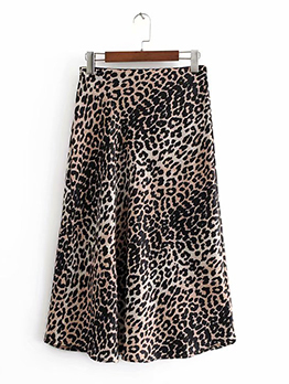 Winter Leopard A-Lined High Waist Midi Skirt