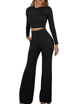 Autumn Solid Cropped Top With Flare Pants